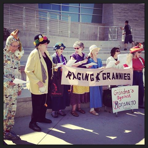 Raging Grannies in march against Monsanto in San Jose