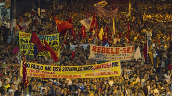 2013 Brazilian protests over increased cost of public  transportation. Photo: Reuters.