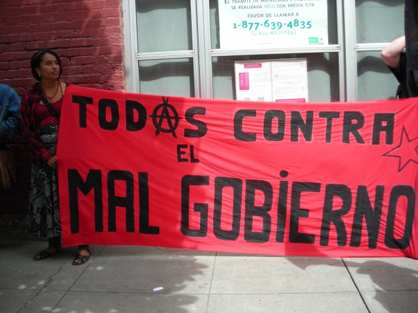 Banner at May 22 Rally at Mexican Consulate in San Francisco