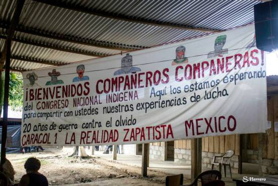 Welcome banner at EZLN Exchange with CNI