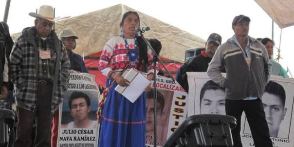 Parents of Disappeared students speak in the Federal District