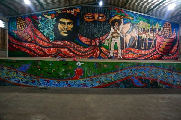 Mural in the Zapatista Caracol of Roberto Barrios