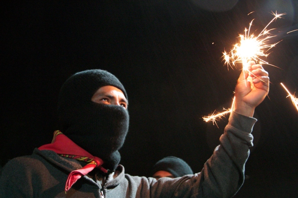 Celebrating the EZLN's 21st anniversary on New Years in Oventik