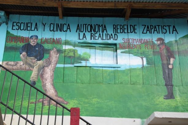 A mural in La Realidad depicting Compañero Galeano (left) and Subcomandante Pedro (right).