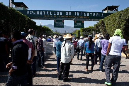Relatives of the 43 students at the 27th Infantry Battalion in Iguala, Guerrero. Photo by: