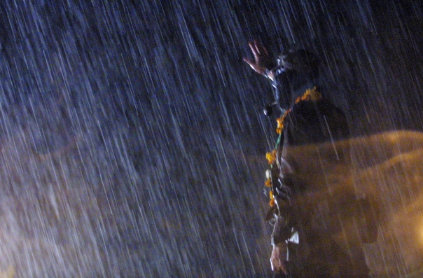 Sup Marcos speaks during storm in Ixmiquilpan, Hidalgo during the March of the Color of the Earth on February 28, 2001.