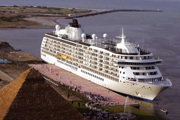 A cruise ship docks at Puerto Madero.