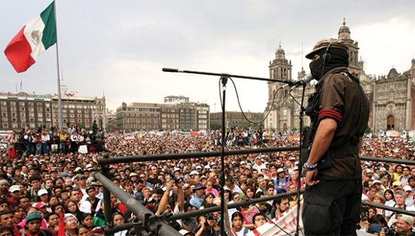 Marcos speaks in the Mexico City Zócalo in 2001.