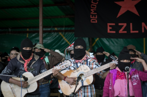 Zapatista musicians play at the Homage and Seminar in Oventik, May 2015.