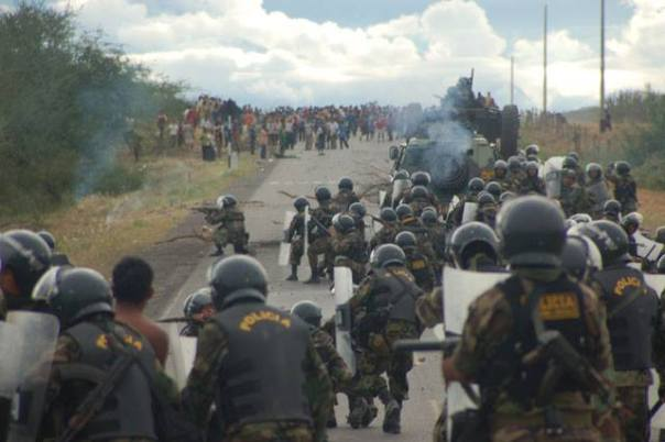 Police confront Indigenous protesters in Peru prior to the Bagua Massacre