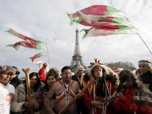 Indigenous peoples protest climate change in Paris.