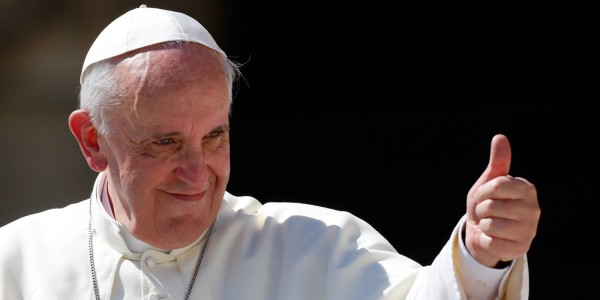 Pope Francisco gives his thumb up as he leaves at the end of his weekly general audience in St. Peter's square at the Vatican, Wednesday, Sept. 4, 2013. (AP Photo/Riccardo De Luca)