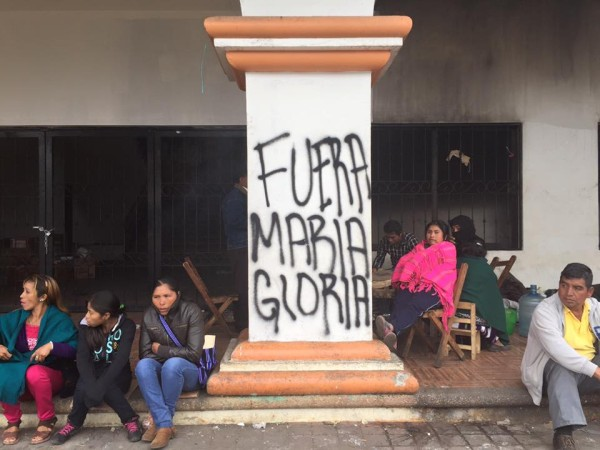 Protesters paint: Maria Gloria Out on Oxchuc municipal building.