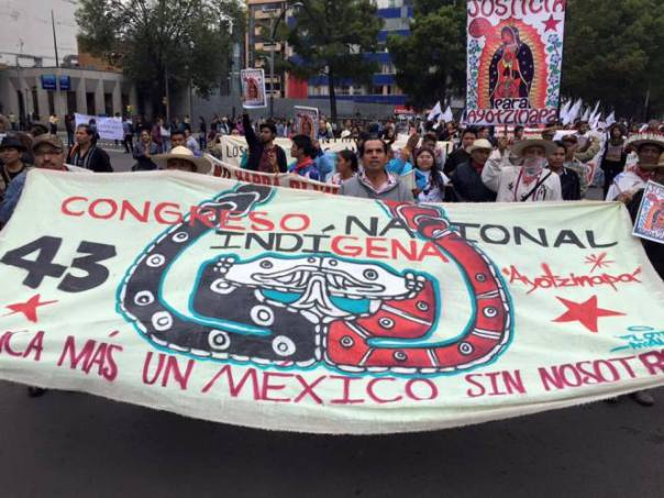 National Indigenous Congress banner in support of Ayotzinapa.