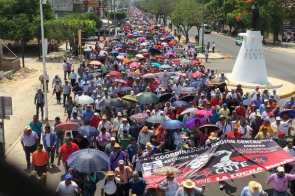 Chiapas teachers march in the state capital of Tuxtla Gutiérrez.