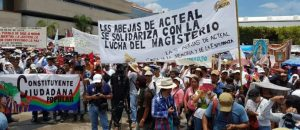 Las Abejas and Catholics march in support of teachers in Chiapas.