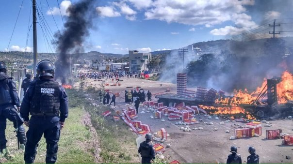 June 19, 2016: Federal Police attack teachers in Nochixtlán, Oaxaca, Mexico.