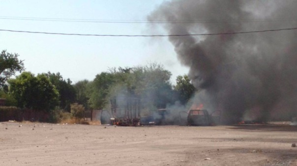 Photo of the conflict in Bácum, taken by the author of the article following the joint commnuniqué.