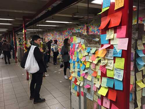 A wall with messages about the election of Trump as president of the United States in a hall of the Union Square Metro in New York. Photo: David Brooks