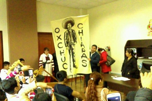 Mayor Oscar Gómez López and his Emiliano Zapata banner.