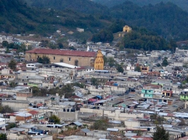 Aerial view of the town of Oxchuc, the capital of Oxchuc municipality, located in the Highlands of Chiapas, Mexico.